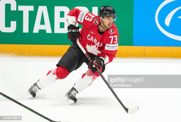 Brandon Pirri of Canada in action during the 2021 IIHF Ice Hockey World Championship group stage game between Canada and the United States at Arena...