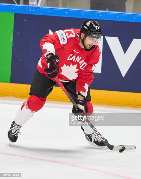 Brandon Pirri of Canada in action during the 2021 IIHF Ice Hockey World Championship group stage game between Canada and Norway at Arena Riga on May...
