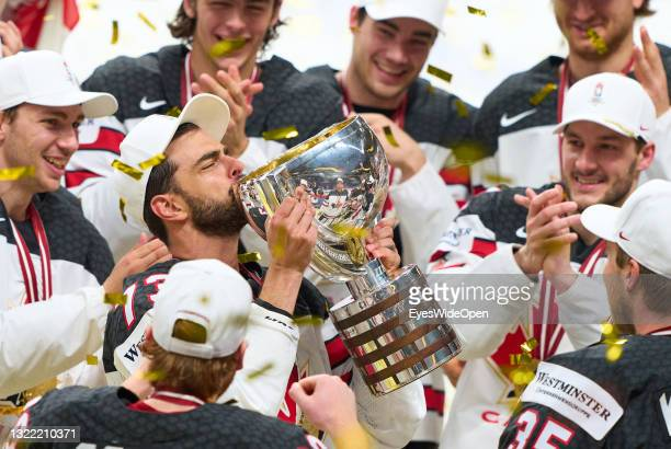 Brandon Pirri of Canada kisses the trophy after the 2021 IIHF Ice Hockey World Championship Gold Medal Game between Canada and Finland at Arena Riga...