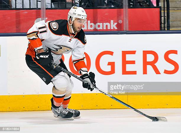 Brandon Pirri of the Anaheim Ducks carries the puck up ice against the Toronto Maple Leafs during game action on March 24, 2016 at Air Canada Centre...