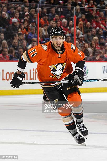 Brandon Pirri of the Anaheim Ducks skates against the Ottawa Senators at Canadian Tire Centre on March 26, 2016 in Ottawa, Ontario, Canada.