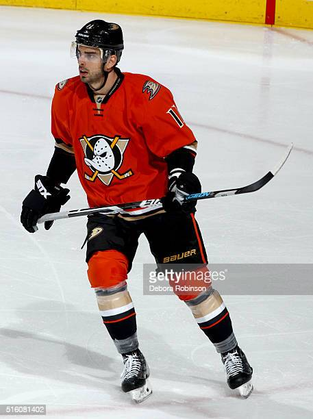 Brandon Pirri of the Anaheim Ducks skates during the game against the New York Rangers on March 16, 2016 at Honda Center in Anaheim, California.
