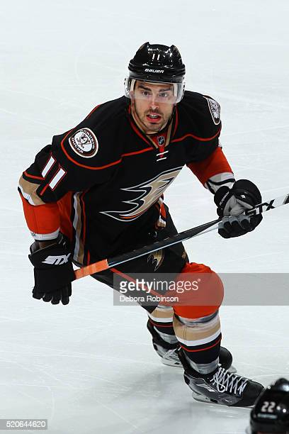 Brandon Pirri of the Anaheim Ducks skates during the game against the Vancouver Canucks on April 1, 2016 at Honda Center in Anaheim, California.