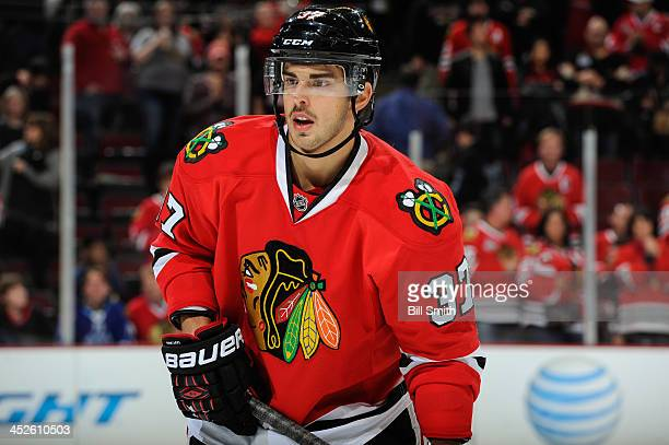 Brandon Pirri of the Chicago Blackhawks looks across the ice during the NHL game against the San Jose Sharks on November 17, 2013 at the United...