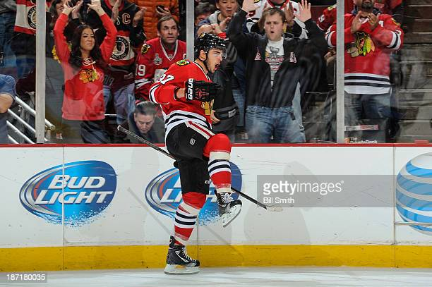 Brandon Pirri of the Chicago Blackhawks reacts after scoring against the Winnipeg Jets in the second period during the NHL game on November 06 2013...