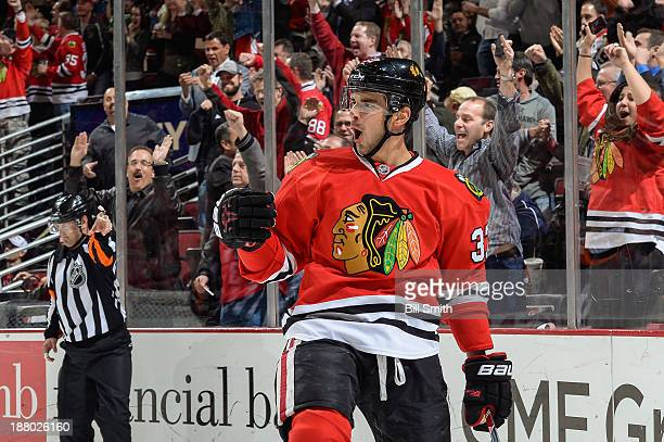 Brandon Pirri of the Chicago Blackhawks reacts after scoring against the Phoenix Coyotes in the third period during the NHL game on November 14, 2013...