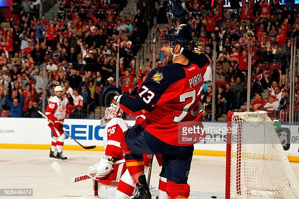 Brandon Pirri of the Florida Panthers celebrates his goal in the first period against the Detroit Red Wings at the BB&T Center on February 4, 2016 in...