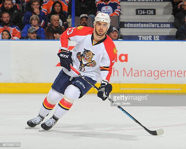 Brandon Pirri of the Florida Panthers skates during a game against the Edmonton Oilers on January 10, 2016 at Rexall Place in Edmonton, Alberta,...