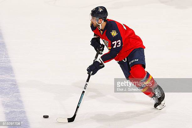 Brandon Pirri of the Florida Panthers skates with the puck against the Nashville Predators at the BB&T Center on February 13, 2016 in Sunrise,...