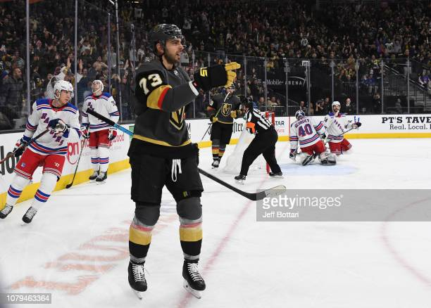Brandon Pirri of the Vegas Golden Knights celebrates after scoring a goal during the second period against the New York Rangers at T-Mobile Arena on...