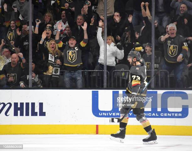 Brandon Pirri of the Vegas Golden Knights celebrates after scoring a third-period power-play goal against the Los Angeles Kings during their game at...
