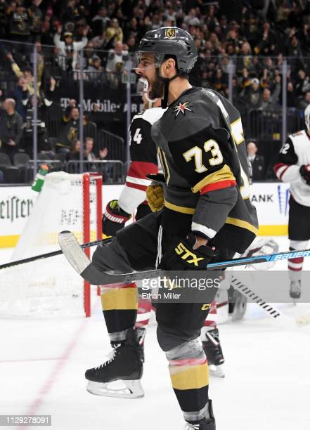 Brandon Pirri of the Vegas Golden Knights celebrates after scoring a second-period goal against the Arizona Coyotes during their game at T-Mobile...