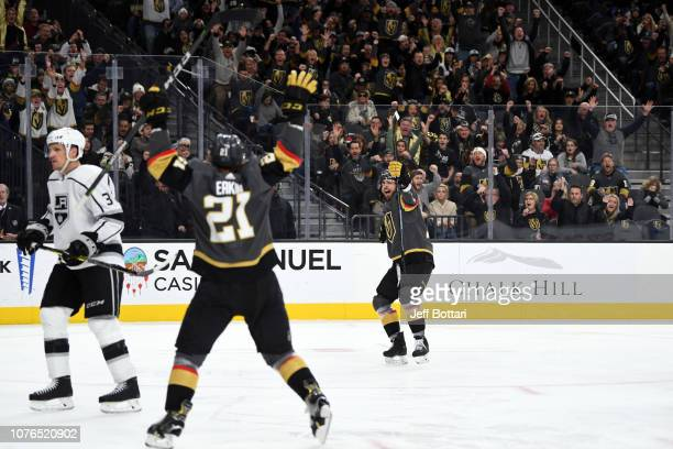 Brandon Pirri of the Vegas Golden Knights celebrates with teammate Cody Eakin after scoring a goal against the Los Angeles Kings during a game at...