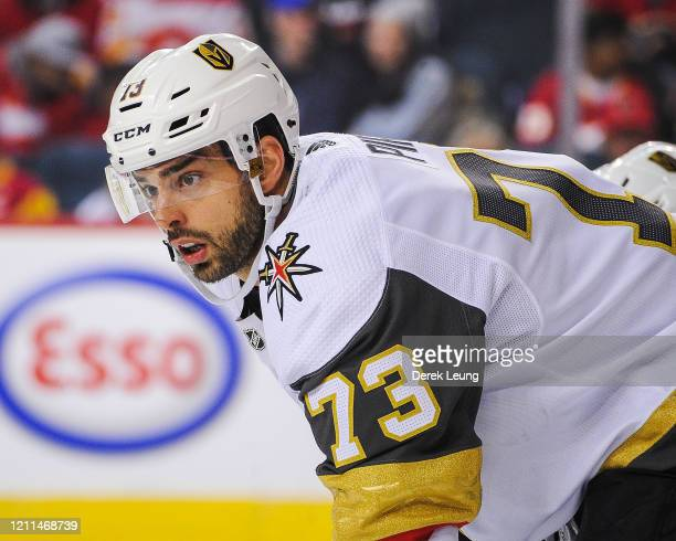 Brandon Pirri of the Vegas Golden Knights in action against the Calgary Flames during an NHL game at Scotiabank Saddledome on March 8, 2020 in...