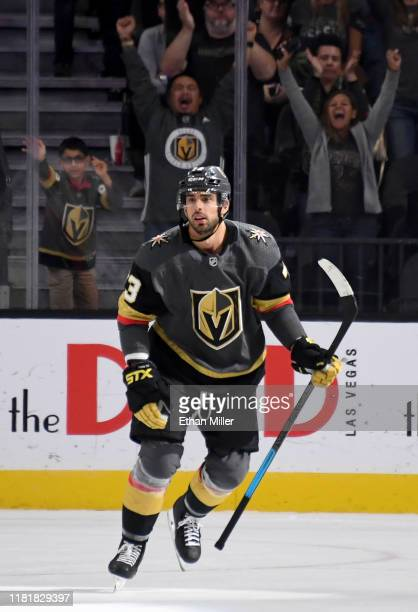 Brandon Pirri of the Vegas Golden Knights reacts after scoring a shootout goal against the Ottawa Senators during their game at T-Mobile Arena on...