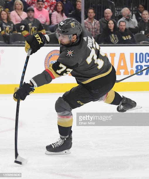 Brandon Pirri of the Vegas Golden Knights shoots against the Los Angeles Kings in the second period of their game at T-Mobile Arena on March 1, 2020...