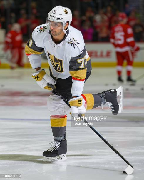 Brandon Pirri of the Vegas Golden Knights shoots the puck in warm-ups before an NHL game against the Detroit Red Wings at Little Caesars Arena on...