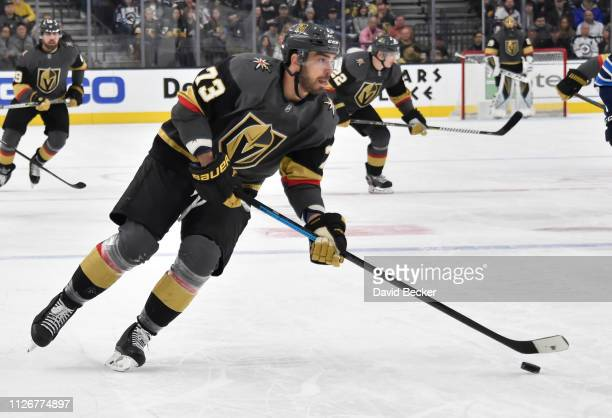 Brandon Pirri of the Vegas Golden Knights skates during the first period against the Winnipeg Jets at T-Mobile Arena on February 22, 2019 in Las...