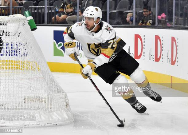 Brandon Pirri of the Vegas Golden Knights skates during the second period against the Colorado Avalanche at T-Mobile Arena on October 25, 2019 in Las...
