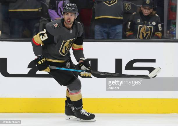 Brandon Pirri of the Vegas Golden Knights warms up prior to a game against the Los Angeles Kings at T-Mobile Arena on March 01, 2020 in Las Vegas,...