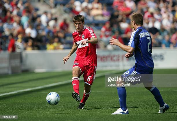 Brandon Prideaux of the Chicago Fire flicks the ball on the right wing during their MLS match against the Kansas City Wizards on April 20 2008 at...