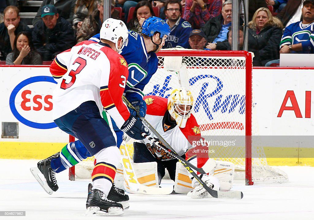 Brandon Prust #9 of the Vancouver Canucks and Steven Kampfer #3 of the Florida Panthers watch Roberto Luongo #1 of the Panthers make a save during their NHL game at Rogers Arena January 11, 2016 in Vancouver, British Columbia, Canada. Vancouver won 3-2.