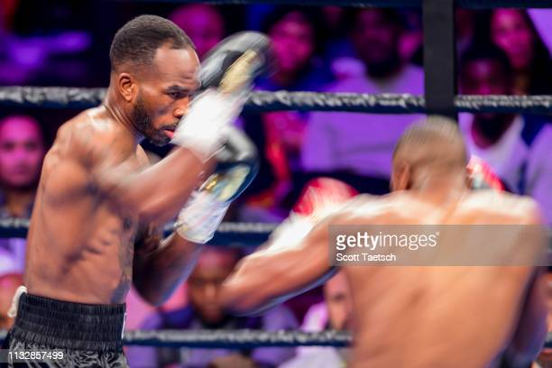 Brandon Quarles and Aaron Coley in action during the first round of their middleweight fight at The Theater at MGM National Harbor on March 24 2019...