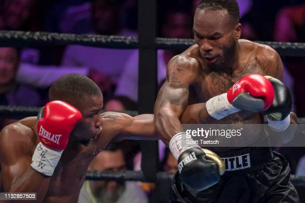 Brandon Quarles and Aaron Coley trade punches during the third round of their middleweight fight at The Theater at MGM National Harbor on March 24...
