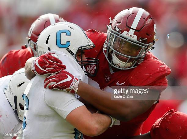 Brandon Rainey of the Citadel Bulldogs is sacked by Quinnen Williams of the Alabama Crimson Tide at BryantDenny Stadium on November 17 2018 in...