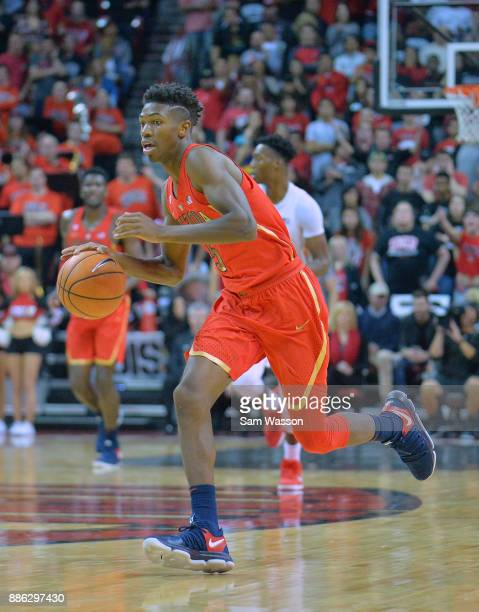 Brandon Randolph of the Arizona Wildcats brings the ball up the court against the UNLV Rebels during their game at the Thomas Mack Center on December...