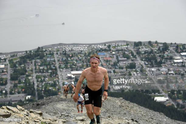 Brandon Rinner approaches the top of Mount Marathon during the Men's Division of the 91st Running of the Mount Marathon Race on July 4 2018 in Seward...