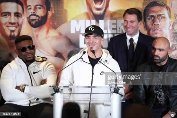 Brandon Rios addresses members of the media to announce his fight against Ramon Alvarez on the November 17, 2018 Mulvane, Kansas fight card as Eddie...