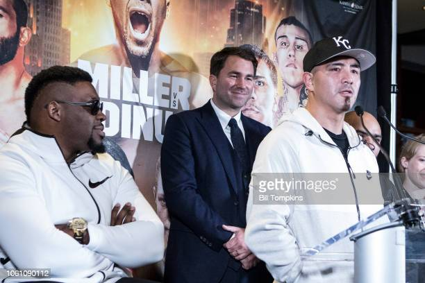 Brandon Rios announces his upcoming Welterweight fight against Ramon Alvarez during the press conference at Madison Square Garden on October 27, 2018...