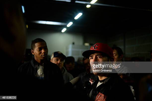 Brandon Rios answers questions from the media. Media day for Mike Alvarado and Brandon Rios in preparation for their third fight on Wednesday,...