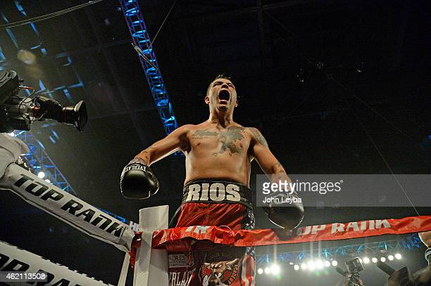 Brandon Rios celebrates his win over Mike Alvarado for the WBO International Welterweight Title January 24, 2015 at 1st Bank Arena.