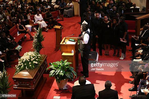Brandon Risher speaks during the funeral of his grandmother Ethel Lance who was one of nine victims of a mass shooting at the Emanuel African...