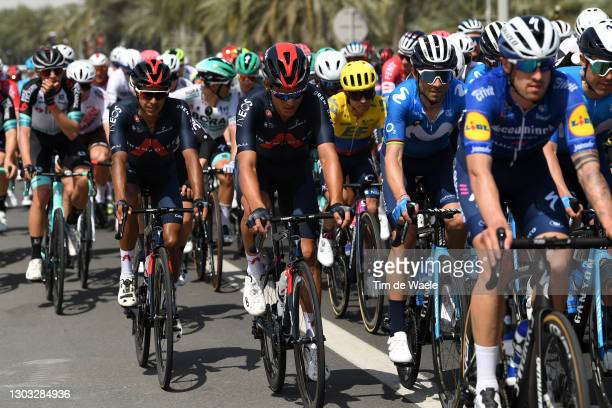 Brandon Rivera Vargas of Colombia and Team INEOS Grenadiers, Andrey Amador of Costa Rica and Team INEOS Grenadiers & Alejandro Valverde of Spain and...