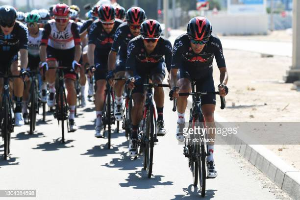 Brandon Rivera Vargas of Colombia & Ivan Ramiro Sosa Cuervo of Colombia and Team INEOS Grenadiers during the 3rd UAE Tour 2021, Stage 7 a 147km stage...