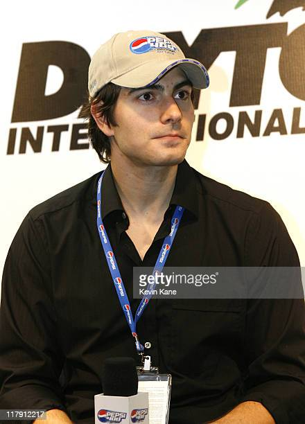 Brandon Routh actor in 'Superman Returns' and Grand Marshall for the 2006 Pepsi 400 speaks during a press conference before the race at the Daytona...