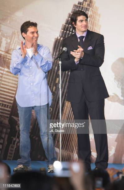 Brandon Routh and Bryan Singer director during Superman Returns Tokyo Premiere Stage Greeting at Roppongi Hills Arena in Tokyo Japan