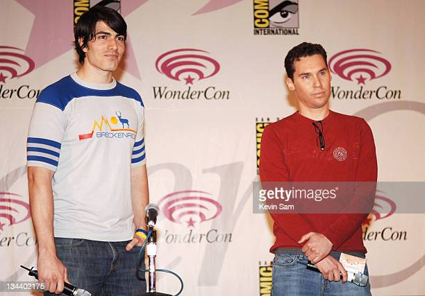 Brandon Routh and Bryan Singer during 2006 Wonder Con Day Two at Moscone Center West in San Francisco California United States