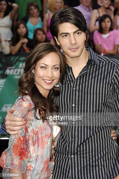Brandon Routh and Courtney Ford during 2006 MTV Movie Awards Arrivals at Sony Pictures in Culver City California United States