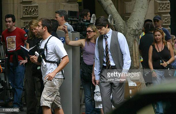 Brandon Routh as Clark Kent during Superman Returns filmimg in Sydney 16th April 2005 at Martin Place in Sydney NSW Australia