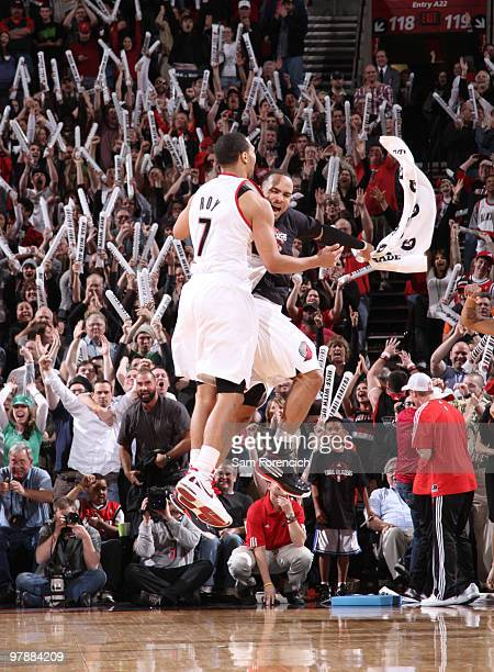 Brandon Roy and Jerryd Bayless of the Portland Trail Blazers celebrate the winning shot during a game against the Washington Wizards on March 19 2010...