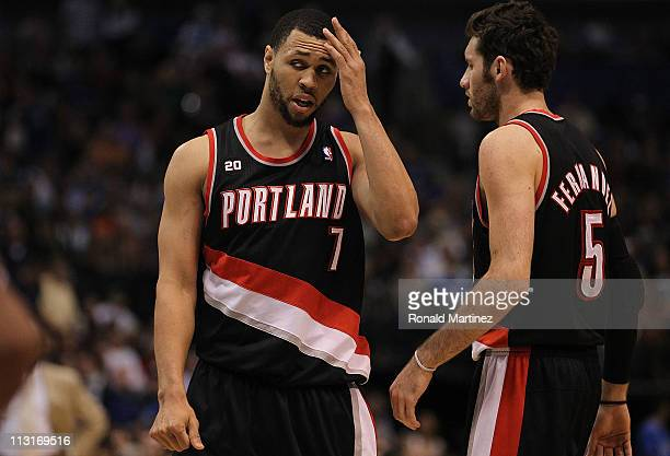 Brandon Roy and Rudy Fernandez of the Portland Trail Blazers in Game Five of the Western Conference Quarterfinals during the 2011 NBA Playoffs on...