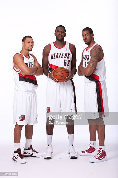 Brandon Roy, Greg Oden, and LaMarcus Aldridge of the Portland Trail Blazers pose for a portrait during 2009 NBA Media Day on September 28, 2009 at...