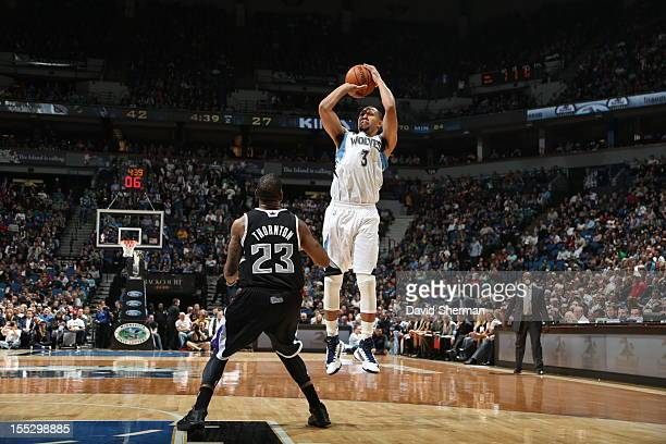 Brandon Roy of the Minnesota Timberwolves against the Sacramento Kings during the season opening game on November 2 2012 at Target Center in...