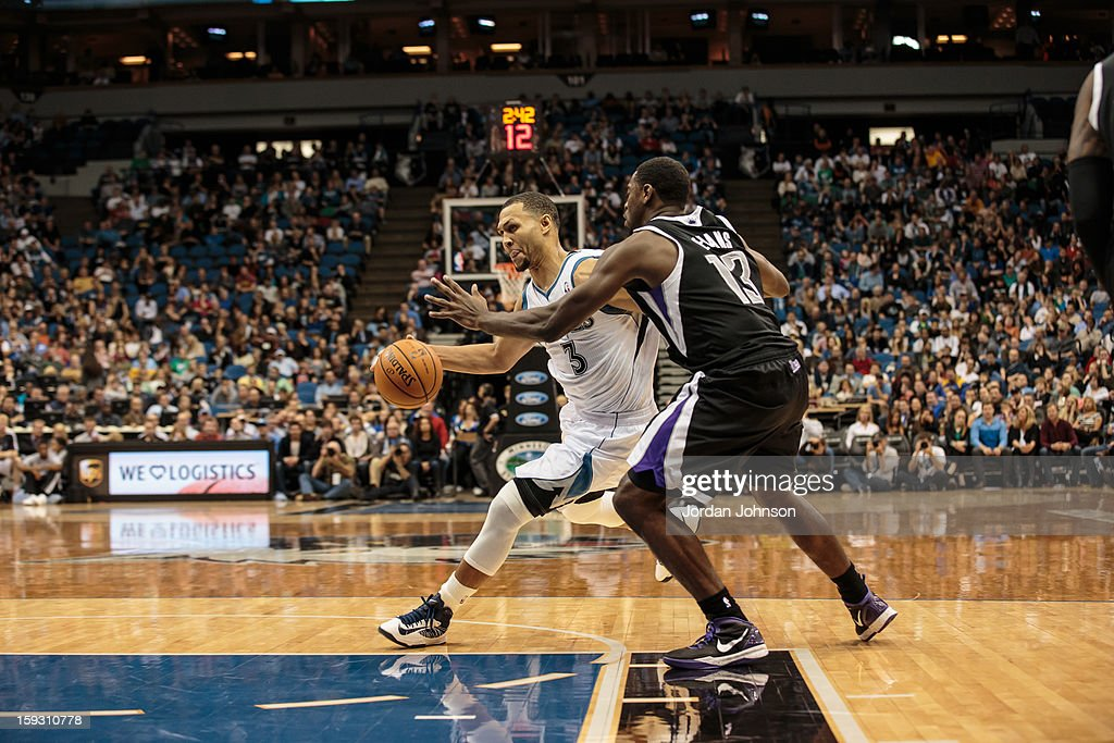 Brandon Roy #3 of the Minnesota Timberwolves drives to the basket against Tyreke Evans #13 of the Sacramento Kings during the season opening game on November 2, 2012 at Target Center in Minneapolis, Minnesota.