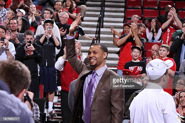Brandon Roy of the Minnesota Timberwolves greets the crowd before the game against his former team the Portland Trail Blazers on March 2 2013 at the...