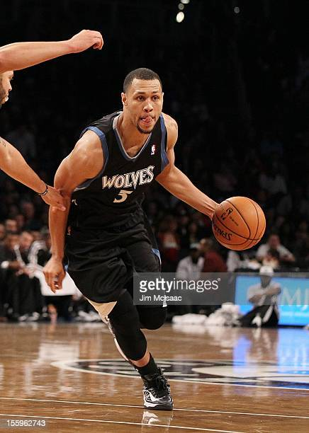 Brandon Roy of the Minnesota Timberwolves in action against the Brooklyn Nets at the Barclays Center on November 5 2012 in the Brooklyn borough of...